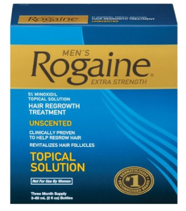A box of Rogaine, which is a hair loss product for men known to treat male pattern baldness