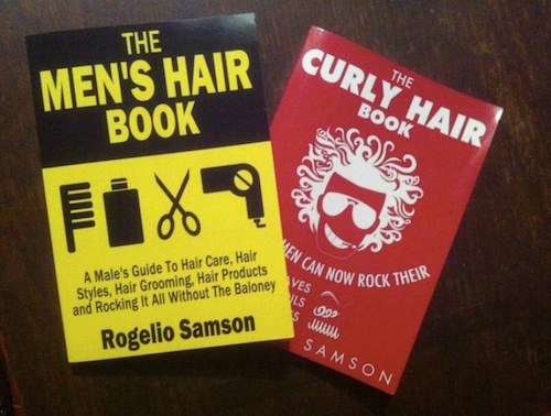 The Curly Hair Book and The Men's Hair Book on a table.