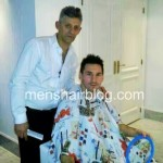Leo Messi with his hairdresser and his new haircut and hairstyle
