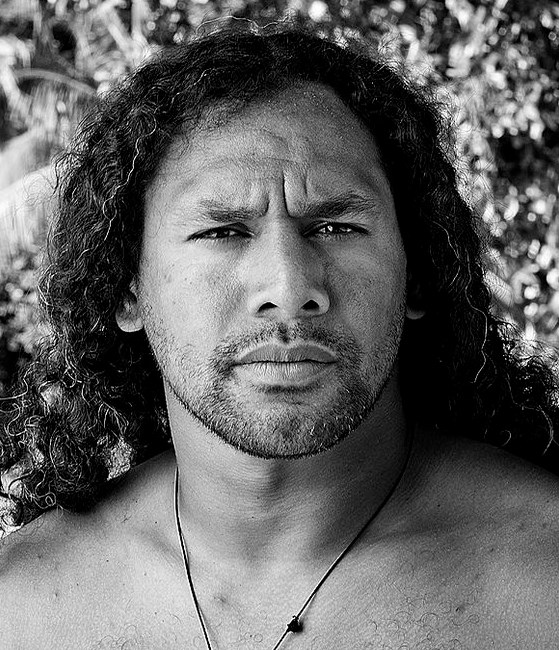 A photograph of Troy Polamalu with his long curly hair styled backwards while posing shirtless
