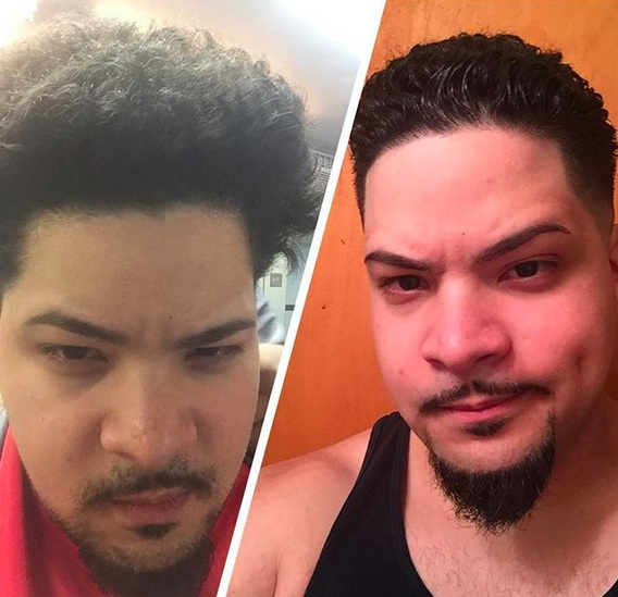 A before-and-after picture of a Hispanic male with a Jewfro hairstyle trimmed into a curly messy top with a fade haircut