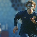 Carles Puyol with a face mask preparing for the new El Clasico on Wednesday 29th August 2012 at 22:30 CEST time