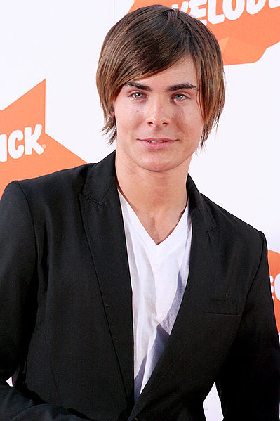 Zac Effron with a Side Fringe hair style