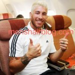 Sergio Ramos with his new hairstyle and bleached hair